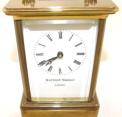 Wonderful Swiss Brass Carriage Clock : MATTHEW NORMAN LONDON SWISS MADE 4