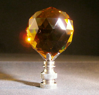 Lamp Finial-Lite Amber Leaded Crystal Lamp Finial-Satin Nickel Base 6