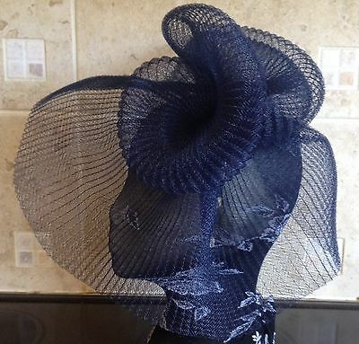 Navy dark blue fascinator millinery burlesque wedding hat hair ascot race bridal 2