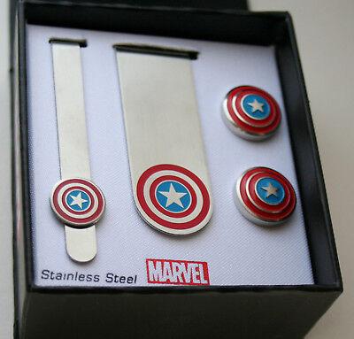 Marvel Comics Deadpool Cuff Links Money Clip Tie Bar 3 Piece Set New NOS Box