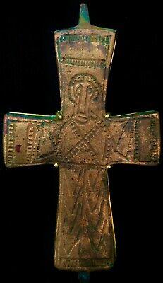 HUGE XL Byzantine (600-900 AD) Ancient Bronze Cross & 18K Gold: Barakat Ancients 2