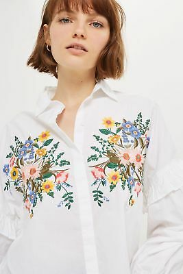 Topshop Floral Forest Embroidered Shirt White UK 14//EU 42 RRP £32 New