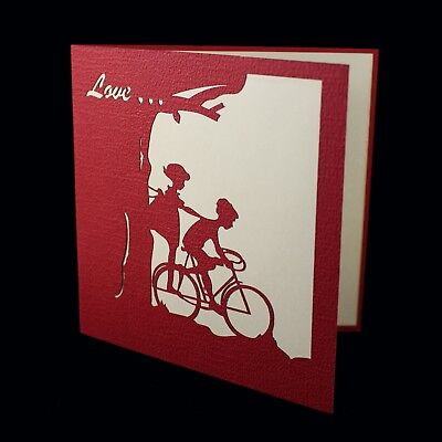 cycling love couple POP UP 3D card bike, wedding, anniversary, Mother/'s Day