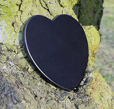 Gedenkstein Baum des Lebens Grabschmuck Herzform Marmor mit Wunschgravur 12,5 cm 3