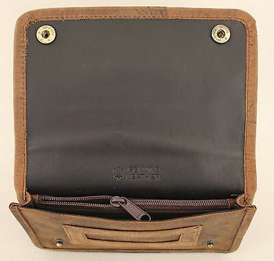 Quality Full Grain  Vintage Leather Tobacco Pouch. Style:12033. BLACK/BROWN 3