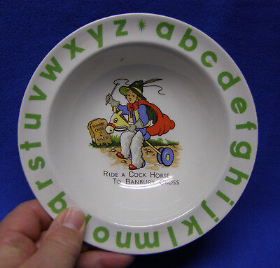 Wood and Sons Child/'s Alphabet Plate Animals Repairing Car in Center, 1950s Blue Alphabet English Ironstone