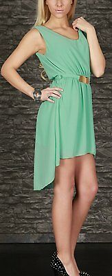 SeXy Miss Damen Vokuhila Chiffon Mini Kleid Glamour Schnalle 34/36/38 Neu mint 2