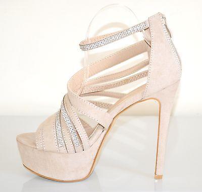 all'ingrosso online colori delicati come scegliere SANDALI BEIGE DONNA DECOLTE scarpe tacco alto STRASS plateau ...