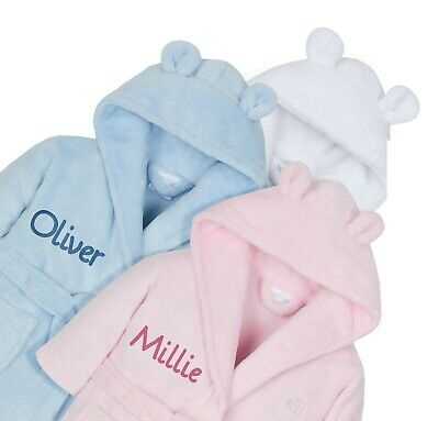Personalised Embroidered Baby Robe Dressing Gown Hood Toddler Baby Gift Boy Girl 3