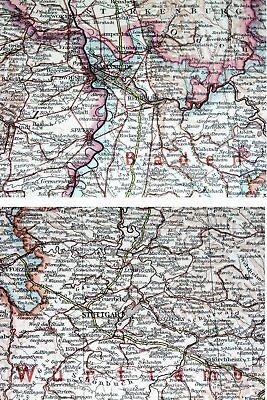 1937 Original Map Baden Wuerttemberg Stuttgart Alsace Strasbourg Germany France 3