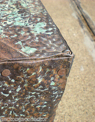 WoW! Primitive Hand Tooled Antique Victorian Ceiling Tin Tile Table Cottage Chic 6