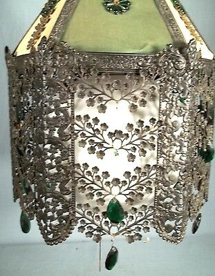 A WONDERFUL EARLY 20th CENTURY 6 SIDED PIERCED TIN FLORAL DECORATED CHANDELIER 7