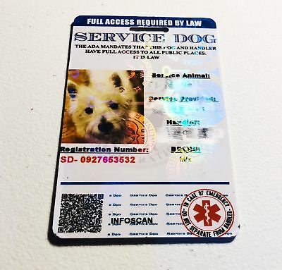 ADA Service Dog Card ID Badge Assistance Animal Badge ESA Holographic Charity 5