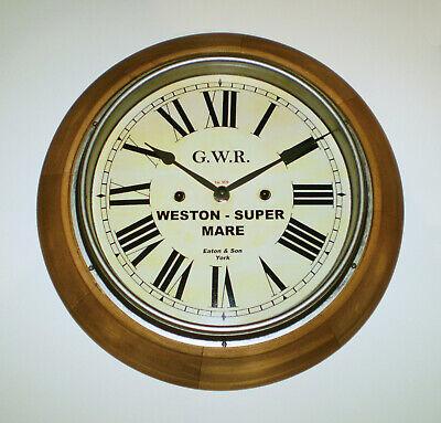 Great Western Railway GWR Retro Style Wooden Clock, Weston-Super-Mare Station 3
