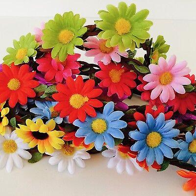 Floral flower headband wedding bridesmaid festival summer boho hair band garland 3