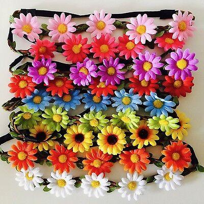 Floral flower headband wedding bridesmaid festival summer boho hair band garland 2