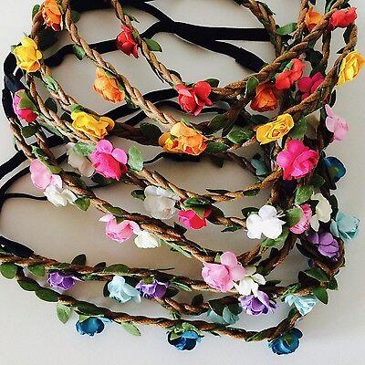 Floral flower headband wedding bridesmaid festival summer boho hair band garland 4