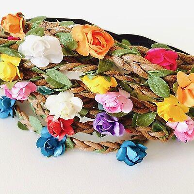 Floral flower headband wedding bridesmaid festival summer boho hair band garland 6