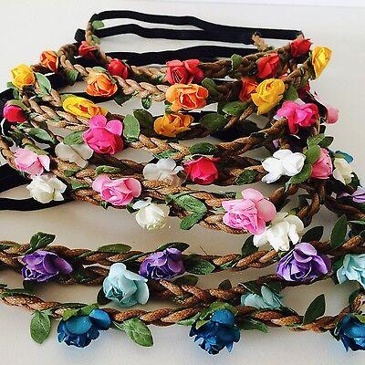 Floral flower headband wedding bridesmaid festival summer boho hair band garland 5