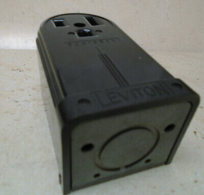 LEVITON 50A 250V Receptacle Surface Mount VTG Bakelite Electric Outlet ART DECO 8