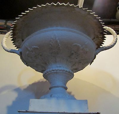 Monumental Antique 19Th Century Ornamental Iron Urn W/ Decorative Mounts-Best! 3
