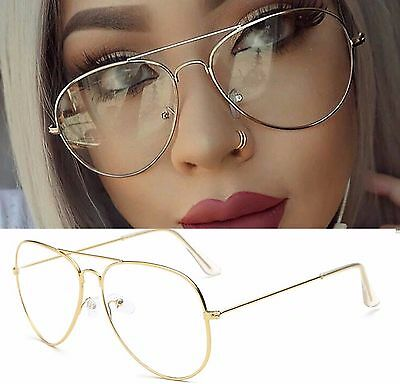 4ab3c999403 ... UK Metal Frame Aviator Pilot Clear Lenses Fashion Accessory Glasses  Mens Women s 3