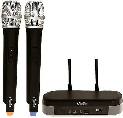 Stadium Twin UHF 60M Wireless MIC Microphone Pack transmitter Carry Case WIMIC2B 2