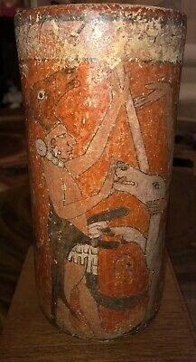 Antique Authentic Mayan Polychrome Vase From Guatemala 4