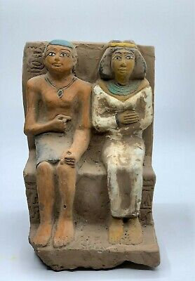 ANCIENT EGYPTIAN EGYPT ANTIQUES STATUE Akhenaten and Nefertiti 1345–1337 BCE -R 2