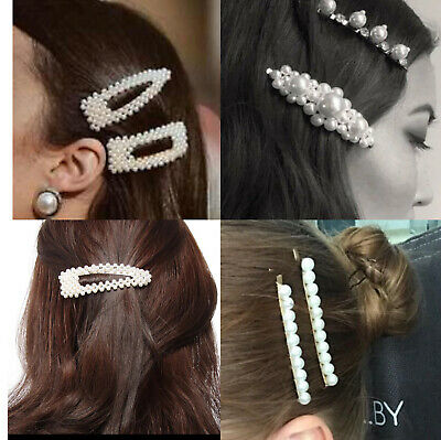 Women Girl Pearl Hair Clip Snap Barrette Stick Pin Hair Accessories Party 1pc 3