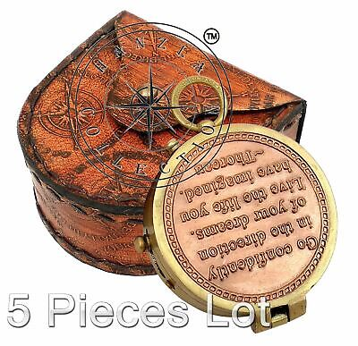 5 Pieces Engraved Brass Compass Maritime Antique Pocket Gift With Leather Case 4
