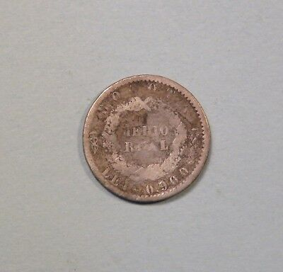 1850 Colombia 1/2 Real Silver World Coin Bogota RARE Low Mintage 2