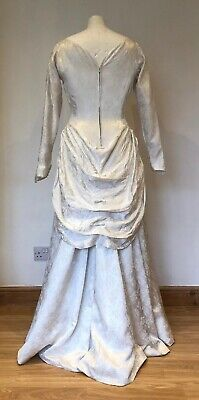 Pretty Vintage 1950s Bridal Wedding Dress with Bustle Off White Damask 8 10 3