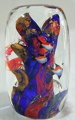 """Art GLASS Paperweight Solid Cylinder 4.5"""" TROPICAL Angel FISH Blue Red CORAL 2"""