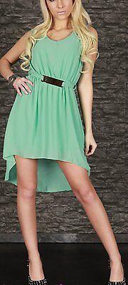 SeXy Miss Damen Vokuhila Chiffon Mini Kleid Glamour Schnalle 34/36/38 Neu mint 4