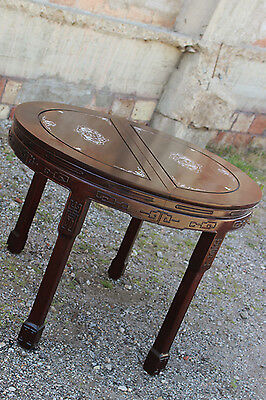 Vintage Chinese Rosewood and Mother-of-Pearl Dining Table 11