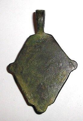 Ancient Roman Empire, 300 AD. Bronze Carnelian Seal Pendant, Red Intaglio Stone 6