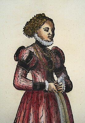 Jost Amman Tracht Meissen Hochzeit  seltener alter kolorierter Holzschnitt 1577