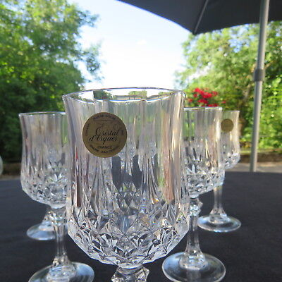 6 verres à vin rouge en cristal d arques modèle longchamp 17 cl