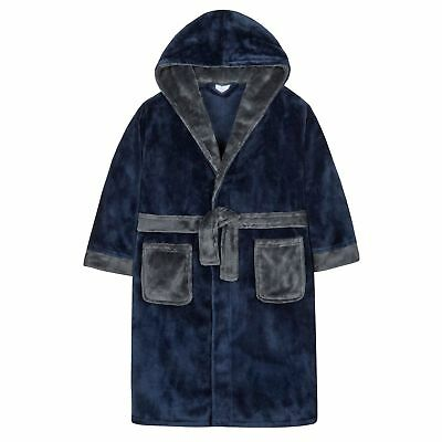 4Kidz Boys Supersoft Fleece Hooded Dressing Gown with Contrast Detail 2