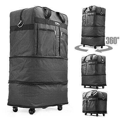 """30"""" Rolling Wheeled Duffel Bag Spinner Suitcase Luggage Expandable in Black 2"""