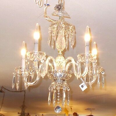 Antique Maria Theresa Crystal Prism 5 Arm Chandelier from Boston Archit Salvage 11