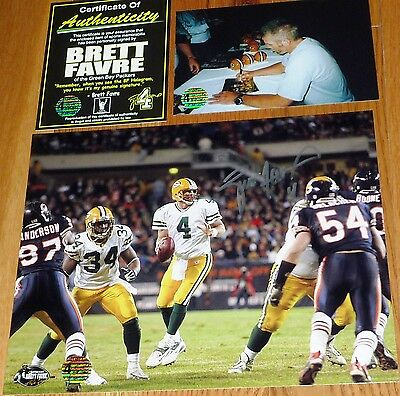 e2123a6ce ... GREEN BAY PACKERS BRETT FAVRE 4 signed vs Bears Brian Urlacher 8x10  PHOTO BF COA 4