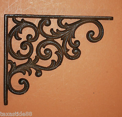 "(2)pcs, EUROPEAN STYLE SHELF BRACKET 9 1/4"", SOLID CAST IRON SHELF BRACKETS,B-23 4"
