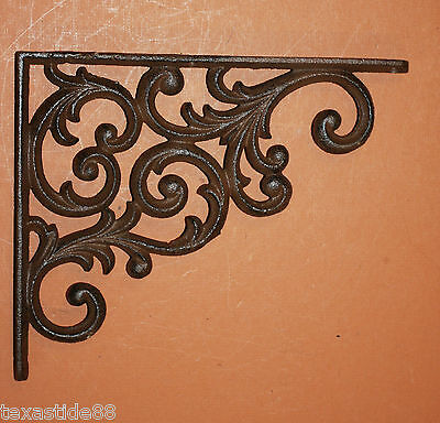 "(8)pcs, EUROPEAN DESIGN SHELF BRACKETS 9 1/4"", CAST IRON, VINTAGE LOOK, B-23 4"