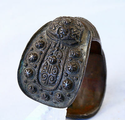 Antique 17/18`c Byzantine Orthodox Medieval Bronze Fertility Folk Art Bracelet 2