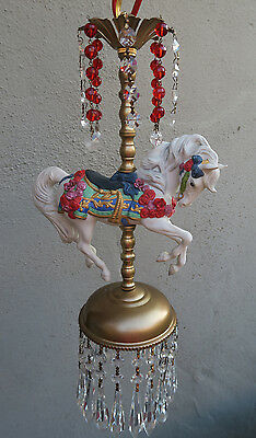 1 Porcelain Horse Carousel Lamp SWAG kids room Chandelier Vintage Crystal Rose 4