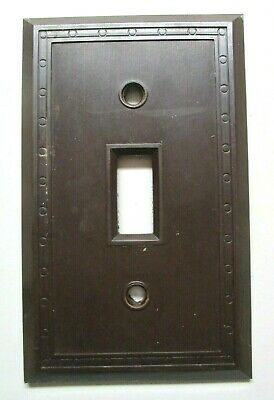 Sem Co 1801 USA Brown Bakelite Antique Switch Wall Plate Cover Fine Lines Dots 3