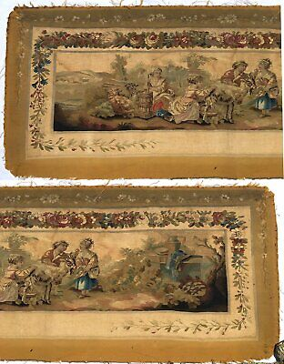 """RARE 55.5"""" Long Antique French Aubusson Tapestry Fragment, Sofa Panel, Figural 2"""