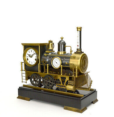 Large French Style 8 Day Brass Automaton Locomotive Industrial Train Clock 2